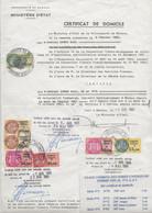 FISCAUX  MONACO SERIE UNIFIEE  7 Timbres Sur Certificat De Domicile De 1982 à 1991 - Fiscale Zegels