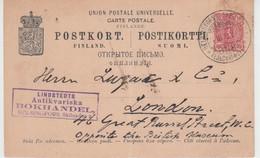 FINLAND USED POSTKORT 23/03/1898 HESLINGFORS LONDON - Paketmarken