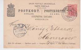 FINLAND USED POSTKORT 23/10/1899 VIBORG HANNOVER - Paketmarken