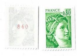 SABINE De GANDON ROULETTE N° 1980a** MNH N° Rouge - 1977-81 Sabine (Gandon)