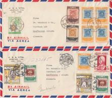 Chile - 100 J. Briefmarke Ex Satz U.a. 3 Luftpostbriefe Lima - Kaufbeuren 1958 - Cile