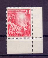 Bund 1949 - 20Pf. Bundestag - MiNr 112 Eckrand Postfrisch - Michel 55,00 € (667) - Unused Stamps