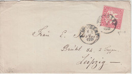 Württemberg - 3 Kr. Wappen Dst. Brief K1 Stuttgart - Leipzig 1868 - Wurtemberg