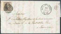 N°6 - Médaillon 10 Centimes Brun, TB Margé Et Beau Bdf Gauche, Obl. P.68 Sur Lettre DeLA LOUVIEREle 22 Avril 1852 + Bo - 1851-1857 Medallions (6/8)