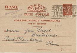 654 Entier Type Iris Sans Valeur Paris RP Départ Du 19-1-1941 - Cartes Postales Types Et TSC (avant 1995)