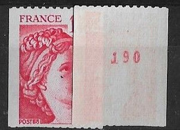 SABINE De GANDON ROULETTE N° 1981Ba** MNH - 1977-81 Sabine (Gandon)