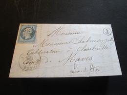 """YT N°14A Seul Sur Lettre Oblit PC 2350  CAD OUCQUES LOIR ET CHER + """"J"""" NOIR + Ambulant NANTES PARIS 11.12.1858 - 1849-1876: Klassieke Periode"""