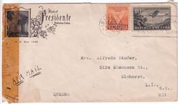C UBA - 1941 - ENVELOPPE ILLUSTREE (HOTEL) AVEC CENSURE De HABANA => ELMHURST (USA) - Covers & Documents