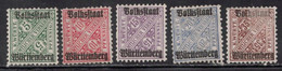 WURTTEMBERG Scott # O152//O159 MH & Unused NO GUM- 1 With Paper Adhesion - Wuerttemberg