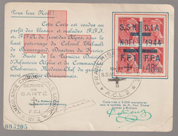 Briançon  Noël 1944, Type Mercure 30c Bloc De 4 Surchargé Croix De Lorraine SSM DIA FFI  FFA - WW II
