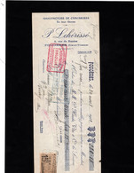 FOUGERES (Ille Et Vilaine) - Lettre De Change 1922 - Manufacture De Chaussures En Tous Genres - P. LEHERISSE - Wissels