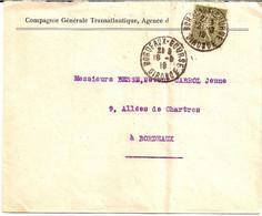3  ---  33  BORDEAUX   Perforé 15c Semeuse Lignée C.G.T.   Compagnie Générale Transatlantique - Perfins