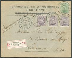 N°137-139(3) Obl. ScagenceIXELLES 17 *sur Lettre Recommandée Du 19-V-1920 Vers Lausanne. Splendides Frappes Et Belle - Sternenstempel