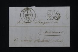 FRANCE - Lettre De Rethel Pour Audincourt En 185. Avec Taxe D'acheminement 25 Double Traits Via Montbeliart - L 91687 - 1849-1876: Classic Period