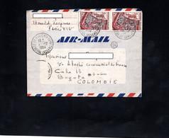 Lettre Pour Bogota (Colombie) - Cachets PARIS XIV Sur YT 970 (x2) - 1921-1960: Moderne