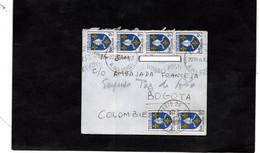 Lettre Pour Bogota (Colombie) - Cachets PARIS Sur YT 1005 (x6) - 1921-1960: Moderne
