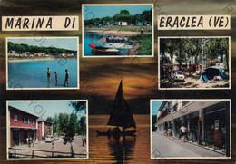 CARTOLINA  MARINA DI ERACLEA,VENEZIA,VENETO,BARCHE A VELA,LUNGOMARE,SOLE,SPIAGGIA,MARE,VACANZA,ESTATE, VIAGGIATA - Venezia (Venice)