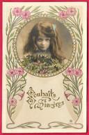 "CPA ""Souhaits Sincères"" Fillette à L'air Mutin, Little Girl - Retratos"