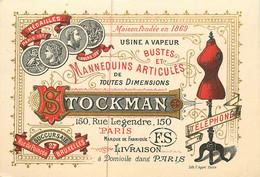 120321B - CARTE DE VISITE ANCIENNE COMMERCE - Fabrique Buste Mannequin Articulé STOCKMAN 150 Rue Legendre PARIS Tailleur - Visiting Cards