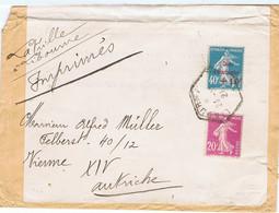 190 Et 246 Sur Imprimé De LIBOURNE (octogone) De 1927 Vers VIENNE (Autriche) - 1921-1960: Modern Period