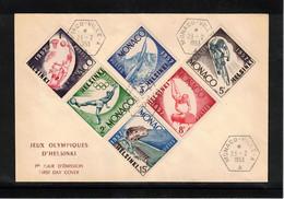 Monaco 1953 Olympic Games Helsinki FDC - Sommer 1952: Helsinki