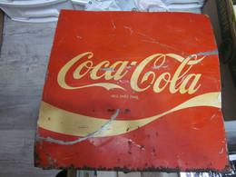 Coca Cola Vintage Old Tin Billboard  Big Format 55x56 Cm - Non Classés