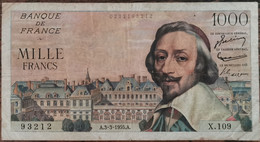 Billets 1000 Francs RICHELIEU 3 - 3 - 1955 France X.109 - 1 000 F 1953-1957 ''Richelieu''