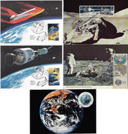 USA United States Czechoslovakia 1969 2013 5 Maximum Card Space 1st Man On Moon Lunar Vehicle Astronautics Space Shuttle - Stati Uniti