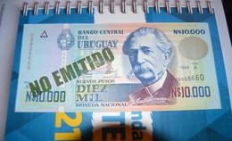 URUGUAY 10000 Pesos 10.000 1989 (NO EMITIDO) Pick 68B UNC FDS NEUF - Uruguay