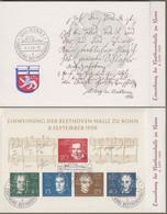 """Bund : Sonderkarte, Sonderheft Mi.-Nr. 315-19, Bl. 2 ESST A, B, C : """" Einweihung Der Beethovenhalle Zu Bonn """"  X - Storia Postale"""