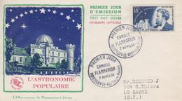 Enveloppe  FDC  1er  Jour   FRANCE   Camille   FLAMMARION    MONTIGNY  LE  ROI   1956 - 1950-1959