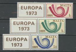 Malte - Malta 1973 Y&T N°474 à 476 - Michel 472 à 474 *** - EUROPA - Avec Vignette Attenante - Malta