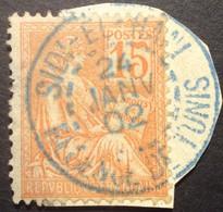 117 ° 38 Sidi - El - Hani Régence De Tunis BLEU Mouchon 15 C Orange Oblitéré 24/1/1902 - 1877-1920: Semi-Moderne