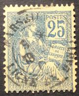 118 ° 1 Marseille Ligne De Bastia Corse  Mouchon 25 C Bleu Oblitéré - 1877-1920: Semi-Moderne