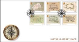 2021 FDC, Historic Jersey Maps - Stamp Set, Jersey, MNH - Jersey