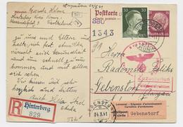 GERMANY REICH POSTKARTE 15C + 30C REC HINTERBERG KONIN 27.10.1941 TO AARAU SUISSE CIVILE ETIQUETTE + CENSURE NAZI - Generalregierung