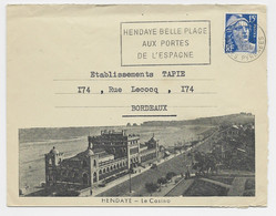 GANDON 15FR BLEU LETTRE ILLUSTREE HENDAYE CASION BASSES PYRENNES 5.8.1954 - 1945-54 Marianne De Gandon