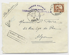 INDOCHINE 30C LETTRE COVER AVION TOURANE 14.6.1938 + FORCE NAVALE FM DUMONT D'URVILLE POUR ALGER TAXE 6FR MANUSCRITE - Naval Post