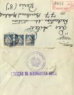 PORTUGAL - 1935 - LETTRE Du MINISTERE De La MARINE - DIRECTION De L'AERONAVAL - LISBONNE Vers PARIS - BEAUX CACHETS - Poststempel (Marcophilie)