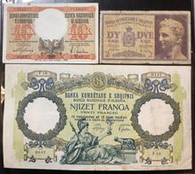 Banca Nazionale D'albania 20 Franga + 10 + 2 Lek  LOTTO 1491 - Albania