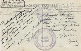 CP Ill Hôtel De Ville FM Dépôt Central Du Corps Militaire Des Douanes Caserne De Reuilly Paris 16 Juin 1915 Pr Bordeaux - 1. Weltkrieg 1914-1918