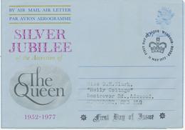 GB 1977 QEII Machin 10 1/2 P. Silver Jubilee Air Letter FDC WINDSOR BERKS - Entiers Postaux