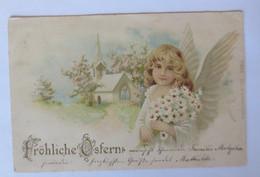Ostern, Engel, Blumen, Kirche, Margeriten,  1900 ♥ (44080) - Pascua