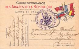 CPFM 5 Drapeaux Cachet Chef Du Bataillon De Forteresse Des Douaniers Du Havre Datée 12/7/1915 Pr St-Valéry-sur-Somme - WW I