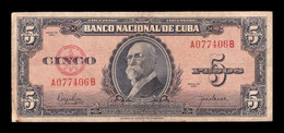 Cuba 5 Pesos Máximo Gomez 1950 Pick 78b BC F - Cuba