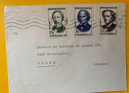 13453 - Lettre Office Du Tourisme Suisse Paris Timbres Founier-Lagrange & Verrier 26.02.1958 Pour Berne - Covers & Documents