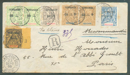 N°4(2)-6-8-9(2)-13 Obl. Dc YUNNAN-FOU CHINE Sur Enveloppe Recommandée Du 23/09/1905 Vers Paris (11/11), Via Marseille (3 - Covers & Documents