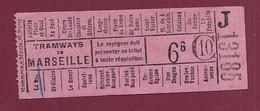 130321A - TICKET TRANSPORT METRO CHEMIN DE FER TRAM - TRAMWAYS DE MARSEILLE J13185 66 C10 - Europe