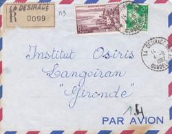 Devant D'enveloppe Recommandée La Désirade Par Avion à Langoiran Gironde - Covers & Documents