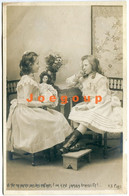 Postcard Photo Paris Portrait Little Girls Teenagers With Doll - Portraits
